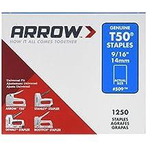 Arrow Fastener 509 Genuine T50 9/16-Inch Staples, 1,250-Pack