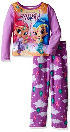 Nickelodeon Girls' Big Girls' Shimmer and Shine Fleece 2-Piece Pajama Set, Purple, 10