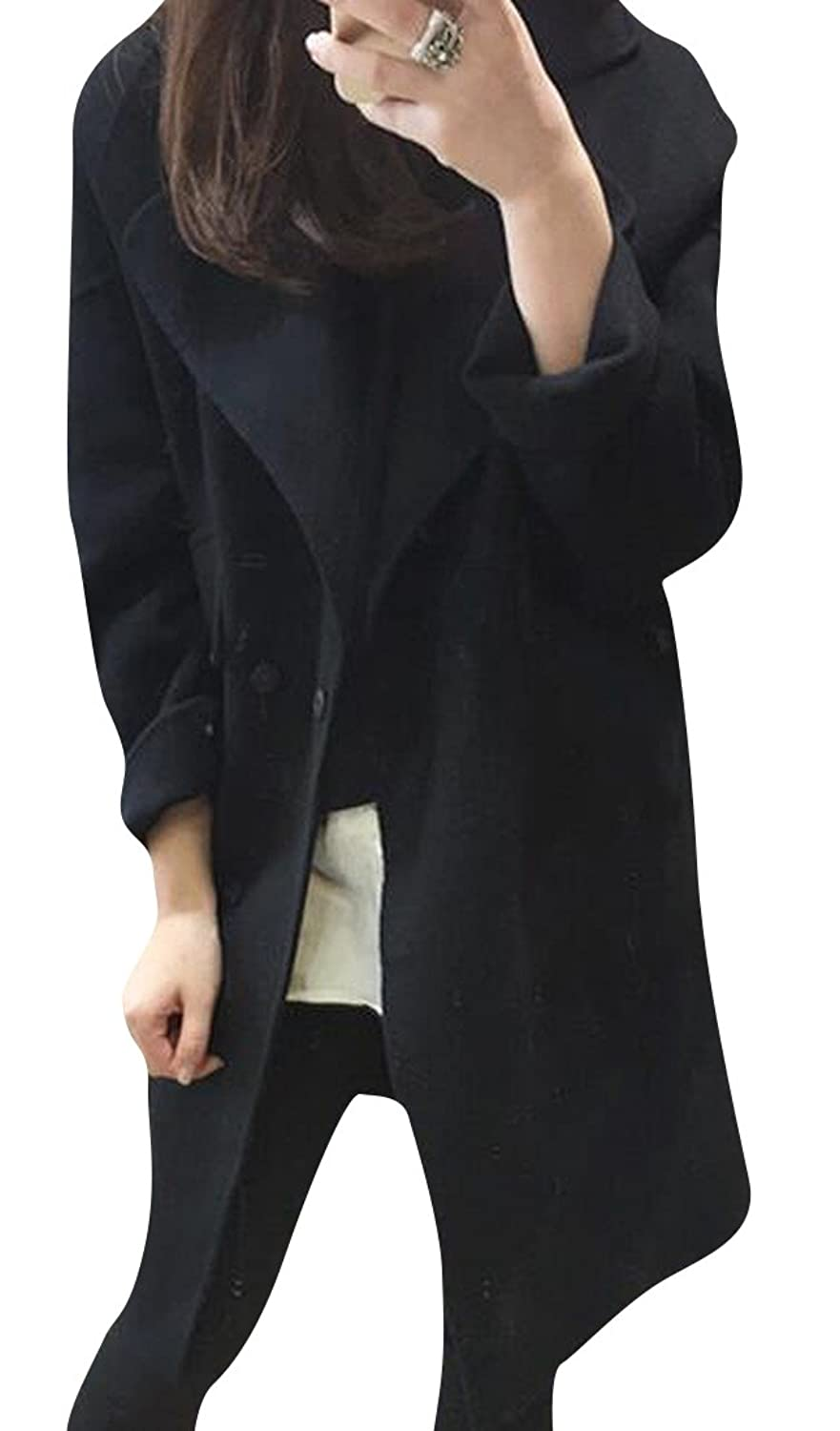 Abetteric Women Winter Solid Turn Down Collar Mid-long Trench Coat Black XL