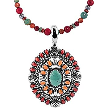American West Sterling Silver Turquoise Coral and Sugilite Gemstone Inlay Spiral Black Leather Pendant Necklace 17 Inch