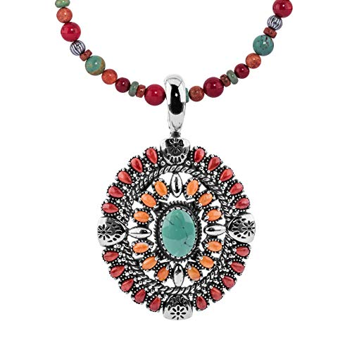 American West Sterling Silver & Green Turquoise, Red Coral, Orange Spiny Oyster 2 ¾