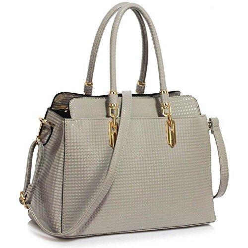 TrendStar Mujeres Bolsas De Créateurs hombro de patente bolsos de damas de moda Fourre Tout B - Grey