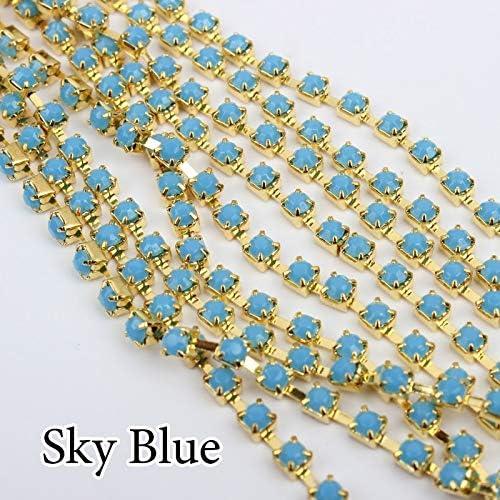 ASTONISH Cielo Azul Cadena Strass SS12 SS16 SS28 3 mm Rojo Naranja SS16 10 Yards 4 mm//Cadenas Copa 6 mm para Ropa