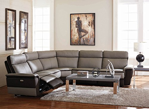 Homelegance Laertes Two Tone Power Reclining Sectional Sofa Top Grain  Leather Fabric Match, Light Grey