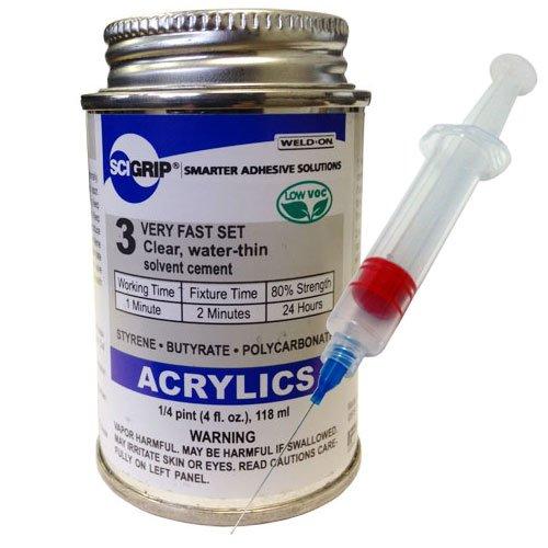 Weld-On 3 Acrylic Adhesive - 4 Oz and Weld-on 25-Gauge Precision Syringe Applicator