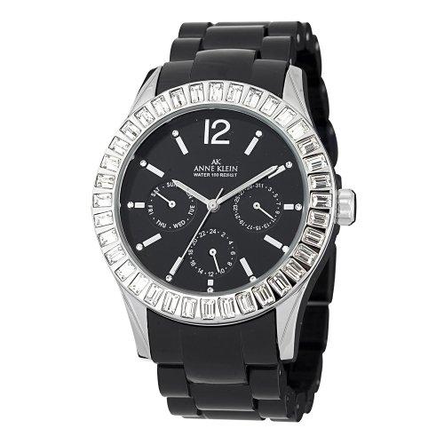 Anne Klein Women's 109317BKBK Swarovski Crystal Silver-Tone Black Plastic Watch
