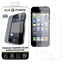 iPhone 5, 5C, 5S Premium Tempered Glass Screen Protector – 2 x Real Glass Screen Protectors with Oleophobic Coating Compatible with Apple iPhone 5, 5C and 5S – Anti Fingerprint and Anti Scratch – Perfect Clarity and Touchscreen Functionality – 1 ECO-FUSED Microfiber Cleaning Cloth Included(2 pack)