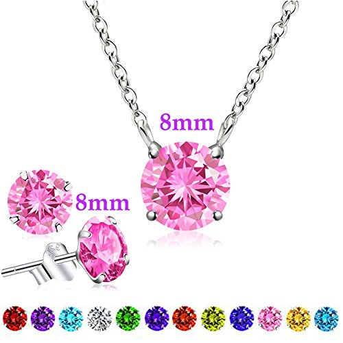 October Birthstone Earrings and Necklace Set, Swarovski Element AAA Cubic Zirconia Pendant Sterling Silver Jewelry for Women Girls (Tourmaline)