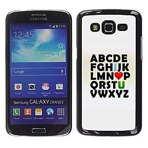 TopCaseStore / la caja del caucho duro de la cubierta de protección de la piel - Alphabet Abc I Love U You Text Poster Valentines - Samsung Galaxy Grand 2 SM-G7102 SM-G7105