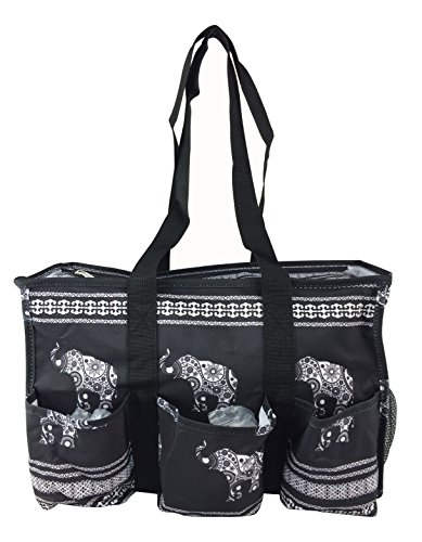 7-Pocket Tote Bag With Zipper (Black Elephant)