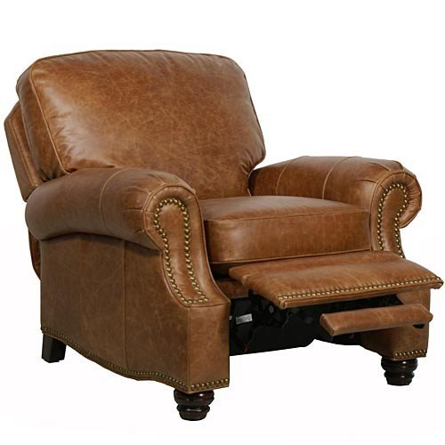 Recliner Leather Leg (Barcalounger Longhorn II Leather Recliner Saddle Leather/Espresso Wood Legs)