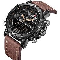 Men's Waterproof Sports Leather Watch Multi-Function Display Backlight Digital Quartz Wrist Watches (Brown)