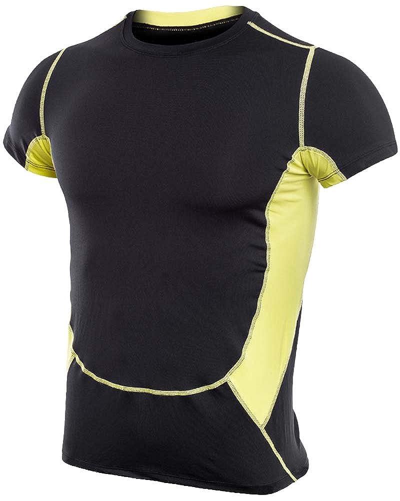 Anyu Uomo Maglietta Sportiva Termica a Maniche Corte Maglia di Compressione
