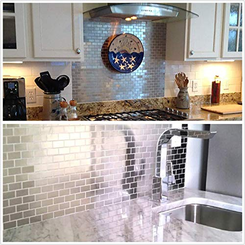HomeyStyle Subway Stainless Steel Peel and Stick Tile Backsplash for Kitchen Bathroom Stove Self-Adhesive Metal Mosaic Tiles Wall Decor Sticker,5 Tiles x 12''x12'' by HomeyStyle (Image #4)
