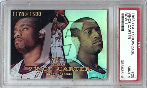 Vince Carter 1998 Flair Showcase Row 1 RC Rookie Card PSA Mint - Showcase Flair 1998