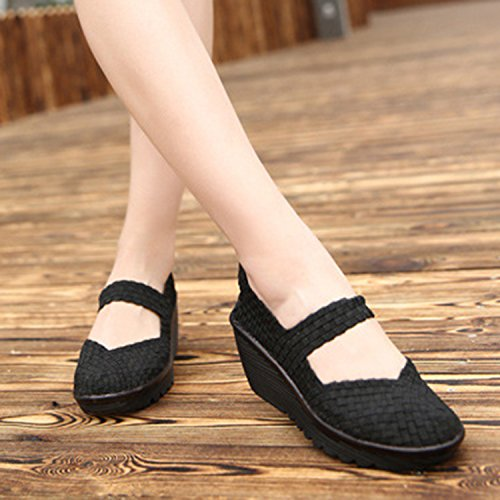 Rsuma Women's Round Toe Hollow out Wedge Heels Breathable Hand-woven Shoes chic