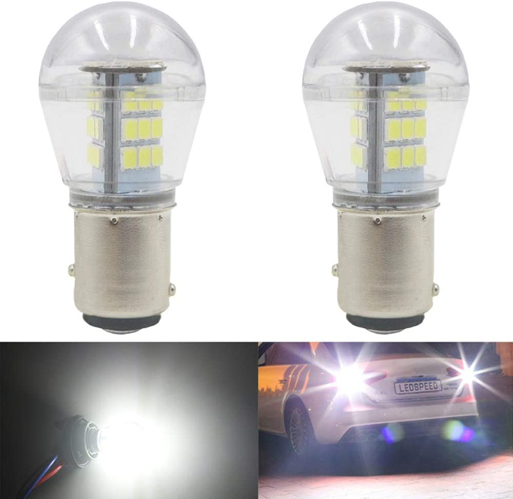 Paquete de 2 1157 BAY15D 7528 2057 2357 Luz LED Blanca 9-30V-DC, 2835 33 SMD Bombillas de Repuesto para el Interior RV Camper Tail Copia de seguridad Bombillas de Marcha Atrás Luz de Marcha Diurna