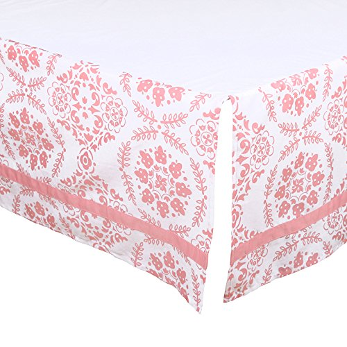 Coral Pink Medallion Tailored Crib Dust Ruffle by The Peanut Shell