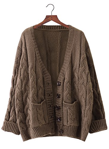 Doballa Women's Slouchy Grandad Cable Knit Button Down Chunky Cardigan Sweater with Pockets