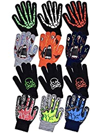 Boys Scary Skeleton & Monster Knit Glove Sets in 12 Creepy Styles and Colors