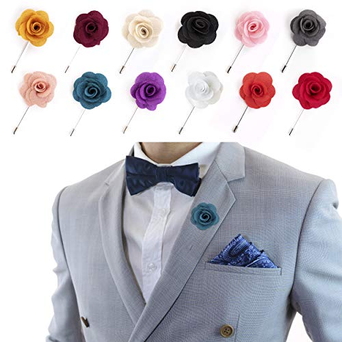 Lapel Pins for Men Flower Pin Rose for Wedding Boutonniere Stick Boutineers (Set of 12 PINS) - White Flowers Tie Collection Black