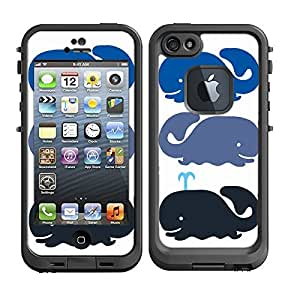 Skins Kit for Lifeproof iPhone 5 Case (skins/decals only) - Blue, Gray Whale design, Nautical Whale, little whale print