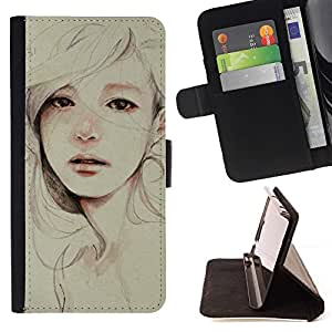 Momo Phone Case / Flip Funda de Cuero Case Cover - Pintura triste Depresión Mujer - HTC Desire 626