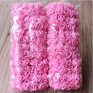 144 pcs 2cm Mini Foam Rose Artificial Flower Bouquet Multicolor Rose Wedding Flower Decoration Scrapbooking Fake Rose Flower 27