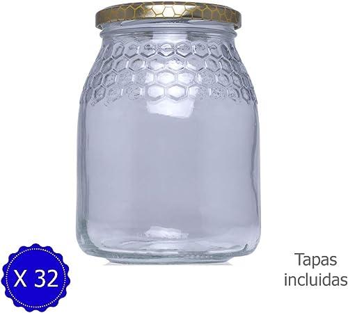 Tarros de Cristal para Miel de 1kg tarros para Miel con Cierre hermético/ Pack 32 Unidades para Miel con Tapas Incluidas .Tarro para Miel con Grabado de celdillas en el Vidrio. (32): Amazon.es: