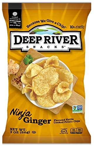 Deep River Snacks Ninja Ginger Kettle Cooked Potato Chips, Non GMO, 2 Ounce (Pack of ()