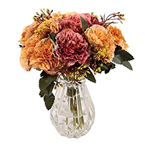 famibay Artificial Carnation Bouquets 6 Floral Head Vantage Fake Flowers with Stem for Mother's Day Birthday Home Decoration Silk Flowers Set of 2(Champagne Gold and Red) 8