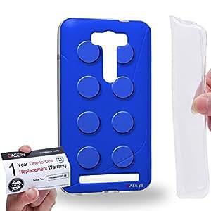 Case88 [Asus Zenfone 2 Laser ZE500KL] Gel TPU Carcasa/Funda & Tarjeta de garantía - Art Fashion Blue Building Blocks Art1582