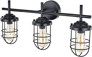 YIKOLUZ Black Vanity Light, Farmhouse Bathroom Rustic Cage Light Fixtures Wall Sconce for Dressing Table Mirror Cabinets, Outside Lights for House (3 Bulb Vanity Light)