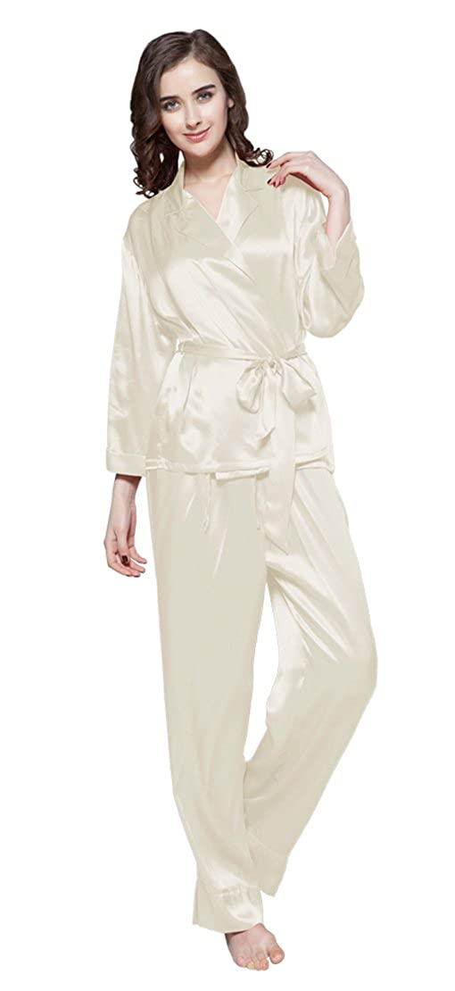 Beige LilySilk Womens Silk Pajama Set Long Sleeves and Pants