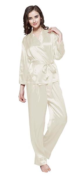 10bf74bbf1e LilySilk Women s 100 Silk Pajama Set Long with Belt Ladies 22 Momme Pure  Mulberry Silk Beige