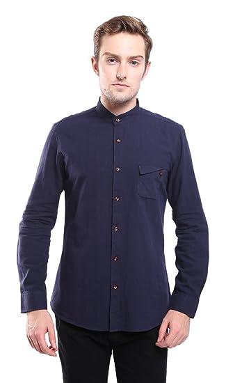 LaiGouMai Men's Stand Collar Long Sleeve Linen Cotton Button Down Shirt  Dark 2XL
