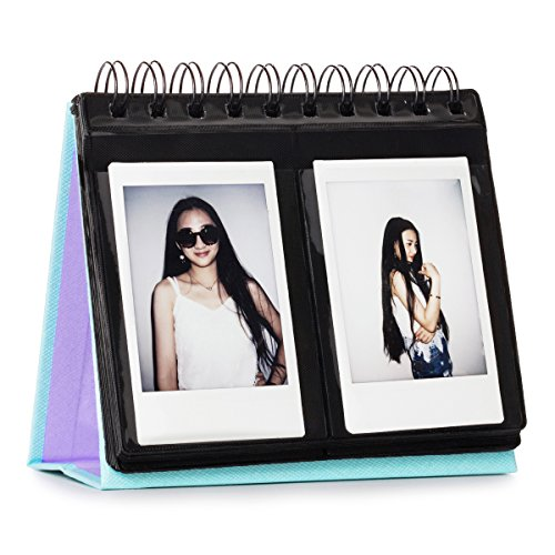 CAIUL Compatible 68 Pockets Desk Calendar Style Photo Album for Fujifilm Instax Mini 7s 8 8+ 9 25 26 50s 70 90 Films (Sky Blue)