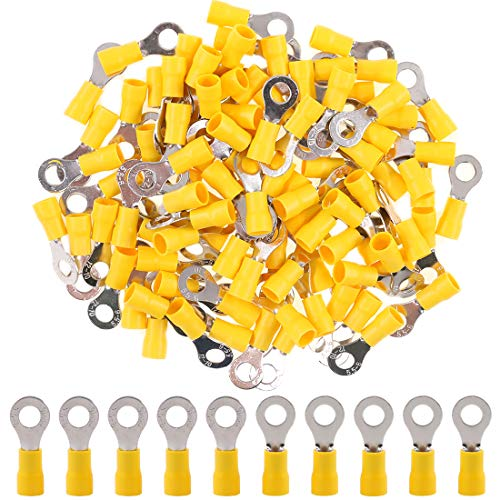 (Hilitchi 100Pcs 12-10AWG Insulated Terminals Ring Electrical Wire Crimp Connectors (Yellow - M6) (Yellow - M6))