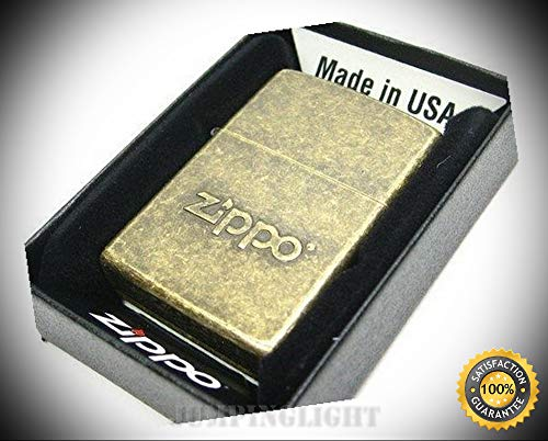 (Antique Brass Stamped Logo Classic Windproof Lighter 28994 - Premium Lighter Fluid (Comes Unfilled) - Made in USA!)