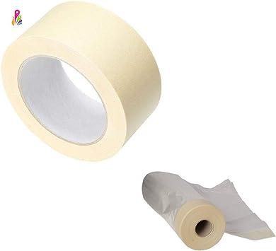 ECOCCEL, pack cinta carrocero pintor más cinta adhesiva con plástico protector, profesional. Ideal para pintura pared, ventanas, puertas, etc. 50mm x 45m. Plástico 60cm x 25m: Amazon.es: Bricolaje y herramientas