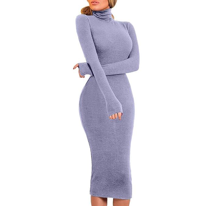 Vestido Largo Sexy Ajustado para Mujer Primavera Invierno,PAOLIAN Vestido Fiesta Noche Manga Larga Elegantes