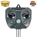 Beatunes 2018 New Solar Powered Ultrasonic Animal and Pest Repeller, Motion Activated Outdoor Waterproof Repellent for Dog, Cat, Bird, Squirrel, Rat, Rabbit, Vole, Raccoon, Fox, Rodent, etc.