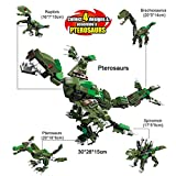 BigSmyo Dinosaur Building Blocks Kids Boys Dinosaur Toys Set 417 Pcs 3x4 12 Deformation Colorful Interlocking Building Toy