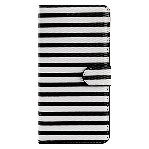 SumacLife Striped Wallet Stand Case for iPhone 6 Plus - Retail Packaging - Black/White