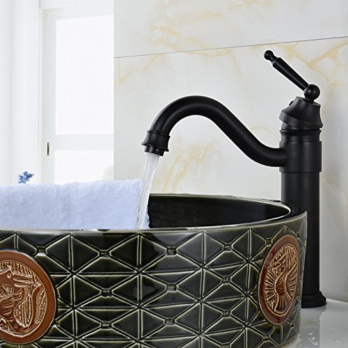 NewBorn Faucet Küche Oder Badezimmer Waschtisch Armatur mit Den Schwarzen die Ganze Kupfer Waschbecken Wasser S Low Pin Größe Ellenbogen Tippen Sie auf