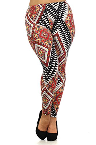 Always Womens Junior Plus Stretch Red Multi Diamond Patterned Leggings