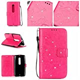 Moto X Play Case,Droid Maxx 2 Case,Gift_Source [Card Slot] [Wrist Strap] Embossing Butterfly Bling Diamond PU Leather Wallet Flip Folio Stand Case for Motorola Droid Maxx 2 / Moto X PLAY [Rose]