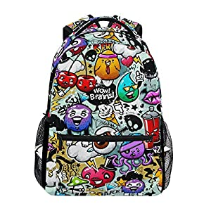 Ahomy Backpack Graffiti Cartoon Rucksack School Bag for Girls Boys Women Ideal Travel Day Shoulder Pack