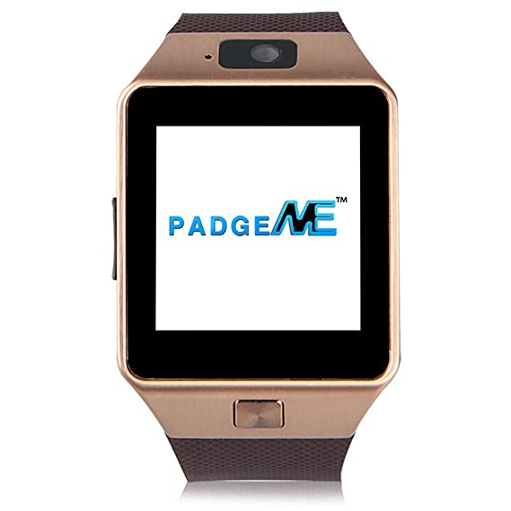 Amazon.com: Padgene Bluetooth Smart Watch with Camera for Smartphones - Gold: Cell Phones & Accessories
