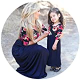 Sunward Mother and Daughter Floral Print Stitching Dress Casual Long Maxi Beach Dress,Parent-Child, (Mom, M)